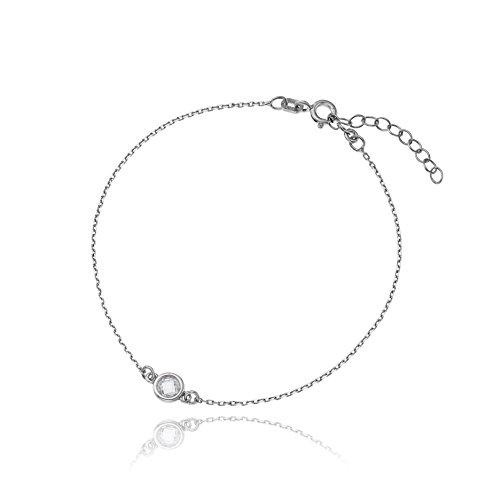 Klar, Satin-gold Anhänger (LillyMarie Damen Armband Silber 925 Kristall Länge Flexibel Geschenkverpackung Geschenk für Beste Freundin)