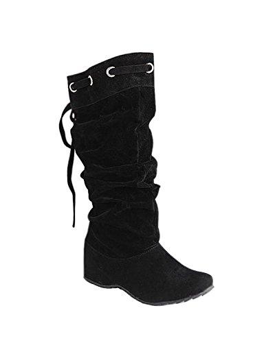 Minetom Mujer Botas De Nieve Calentar Invierno Planos Zapatos Moda Rodilla De Las Botas Negro EU 38