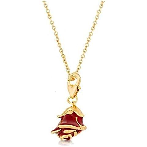 Disney Couture-Collana placcata oro, motivo: La bella e la bestia &-Collana con ciondolo a forma di rosa, colore: