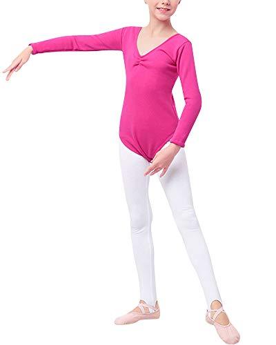 Mengmiao Kinder Mädchen Plus Samt Trikot Langarm Einfarbig Grundlegende Gymnastic Dancewear Rose 120