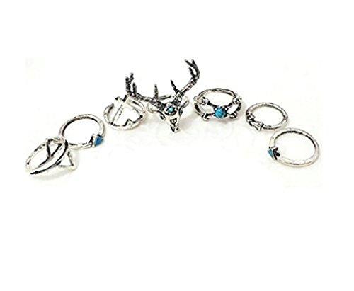 Bishiling 7 Stücke Ringe Nagel-Ring Mädchen mit Rentier Kreuz Dreieck Ring Set Stapelringe (Stellen Rentier Kostüme)