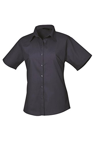 Premier Workwear Damen Bluse Ladies Short Sleeve Poplin Blouse Navy