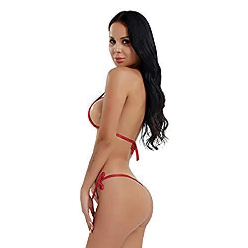 iEFiEL Bikini Hot Damen Micro Wetlook Mini Bikini Set Metallic Glanz Mini Mikro BH Unterwäsche Dessous Reizwäsche Rot One Size