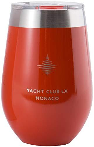 Yacht Club LX Weinglas 12Oz mit Deckel, Vakuum Isoliert, doppelwandig Edelstahl Tumbler für Wassersport, Outdoor, Camping. Bruchsicher und ohne Stiel 12 oz Monaco Red