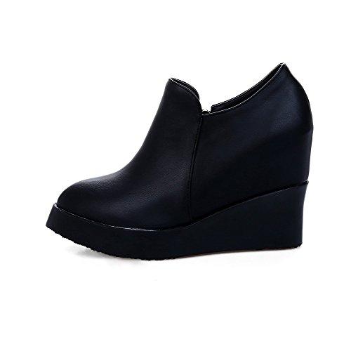 Sapatos Puramente Pé Alto Zíper Preto De Do Bombas Ao De Macio Allhqfashion Salto Senhoras Redor Material Dedo Do PqS4H