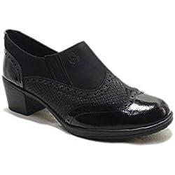 24 Horas 22676 - Zapatos de Mujer de Piel Negra Grabada Acharolada con Tacón