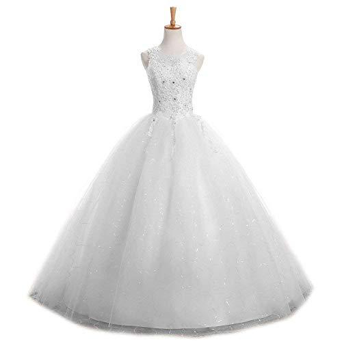 CLLA dress Damen Spitze Hochzeitskleider Brautkleider Elegant Lang Abendkleider Brautmode(Weiß,42)