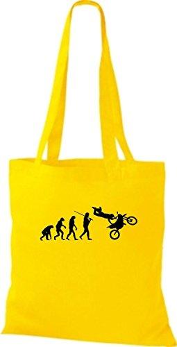 Borsa Di Stoffa Tinta Unita Jute Evolution Moto Biking Stunt Freebike Biker Vari Colori Giallo