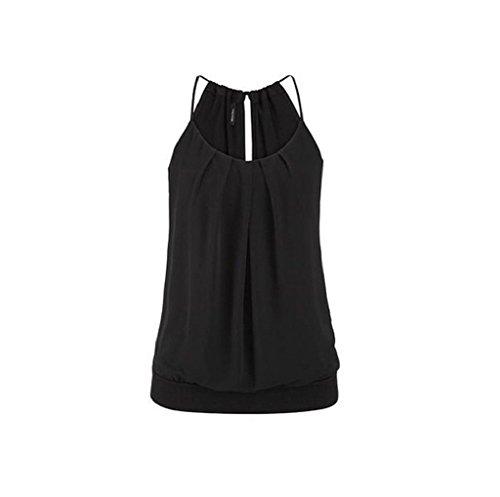 SEWORLD T-Shirt Damen Neu Frauen Sommer Lose Geknitterte O-Ausschnitt Cami Tank Tops Weste Bluse (Schwarz, L) -