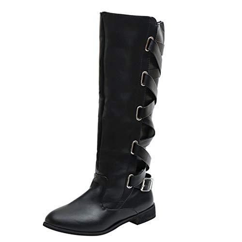 Frashing Damen Stiefel Winter Cross Strap Hohe Stiefel Kniehohe Stiefel Cowboy Warme Schuhe Reißverschluss Schnalle Langschaft Stiefel Overknees Stiefel Flach (Schwarz,40 EU) -