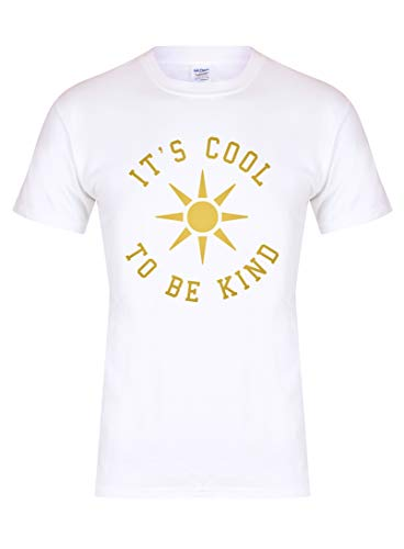 Unisex Youth Slogan T-Shirt It's Cool to Be Kind Sun White Large with Gold