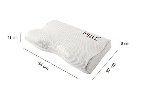 Ebitop Ebi. – K54.37.11 Orthopädisches Seitenschlaf-Viskoseschaum-Kissen mit Kissenbezug 54x37x11/8,5cm weiß - 3