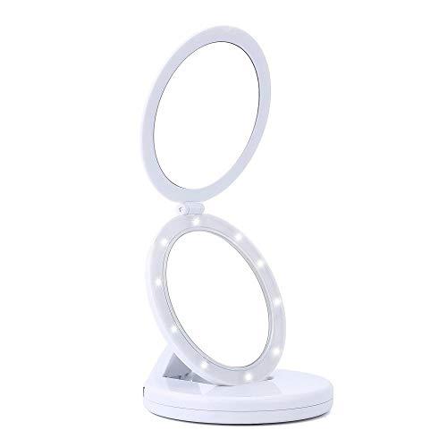 Kompakter LED-Make-up-Spiegel, beleuchteter Make-up-Spiegel, HD-Make-up-Spiegel, tragbarer Reisespiegel, tragbarer Kosmetikspiegel, 5-fache Vergrößerung, Handheld-Make-up-Spiegel -