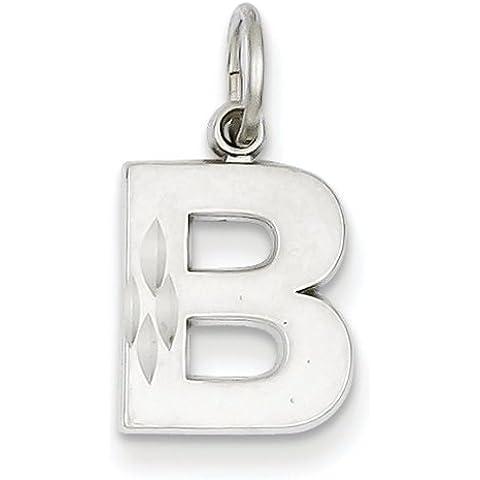 Icecarats Designer Di Gioielli 14K Oro Satinato Bianco Solido Iniziale B Fascino Diamante Taglio