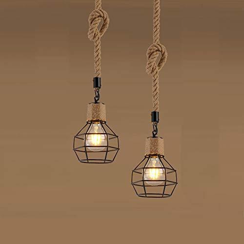Fransen-mini-lampe (CHUNGUANG 1/3-Licht American Retro verstellbare Metall Anhänger Leuchten, kreative Hanfseil Kronleuchter Mini-LED-Beleuchtung Art-Deco-Decke hängen Lampen Bett Schlafzimmer Wohnzimmer Kücheninsel)