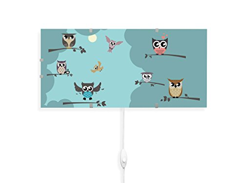 yourdea Kinderzimmer Wechsel Bild für IKEA GYLLEN Wandleuchte 56cm mit Motiv: Acht Eulen