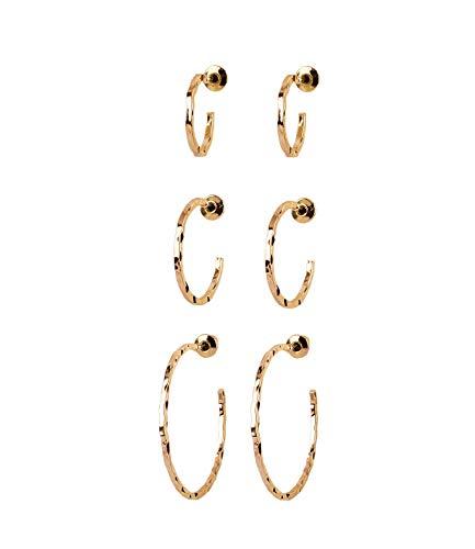 SIX Damen Ohrringe, 3er Set goldene Creolen in verschiedenen Größen mit Prägungen (787-687)