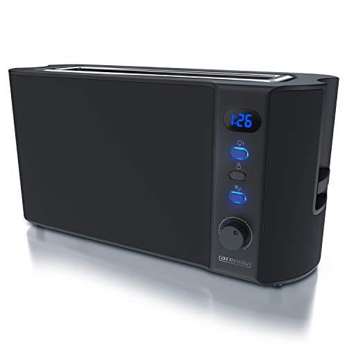 Arendo - Toaster Langschlitz 2 Scheiben - Defrost Funktion - 1000W - Doppelwandgehäuse - Integrierter Brötchenaufsatz - Bräunungsgrade 1-6 - Display mit Restzeitanzeige - Edelstahl schwarz matt