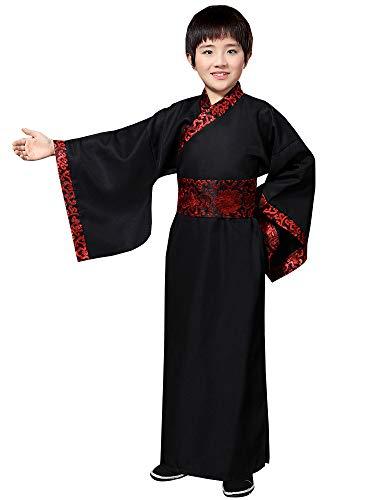 BOZEVON China Hanfu - Junge Festival Performance Kostüme Alte Streitende Staaten QIN und Han Dynastien Offizielle Uniform,Schwarz,EU 170=Tag 180