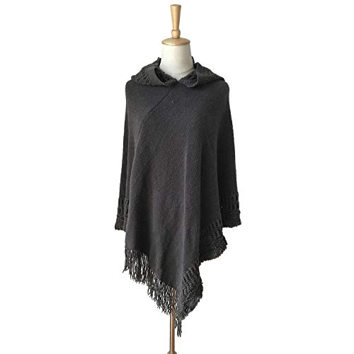 Vintage Cape Poncho Coat Faux Fur Cloak Womens Coat Bat Sleeve Thick Cardigan Wool Blend Trim Shawl Wrap Buckle Collar Outwear Stylish Jacket Winter