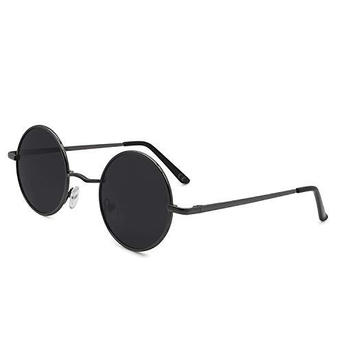 AMZTM Retro Steampunk Sonnenbrille Klassisch Vintage Mode Metallrahmen Klein Runde Kreis Polarisierte Damen Herren Fahren Brillen UV 400 Schutz (Gewehr grau Rahmen Grau Linse, 46)