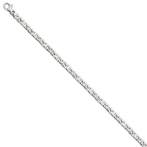 Or blanc 14carats 4,5mm Fancy Link Bracelet Chaîne-Longueur Options: 18-20