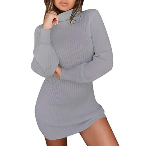 SHOBDW Damen Casual Langarm Pullover Rollkragen Pullover Kleid Frauen Herbst Winter Mode Tunika Bluse Stricken Sweater Minikleid (Weste Top Stricken Pullover)