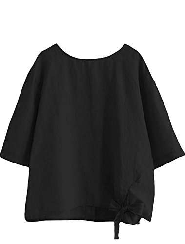 MatchLife Damen Einfarbig Leinen Bluse Rundhals Elegante Kurzarm Tunika Casual T-Shirt Tops Schwarz Fit EU 42-46