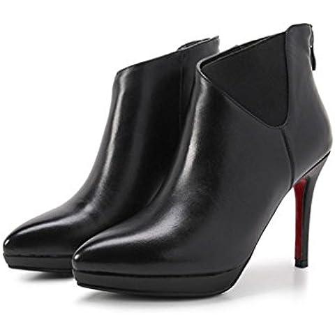 Martin stivali, ladies inverno a spillo a punta in pelle le classiche scarpe casuale , black , 34