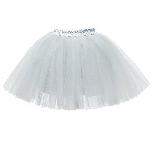 Honeystore Damen's Mini Tutu Ballett Mehrschichtige Rüschen Unterkleid Grau