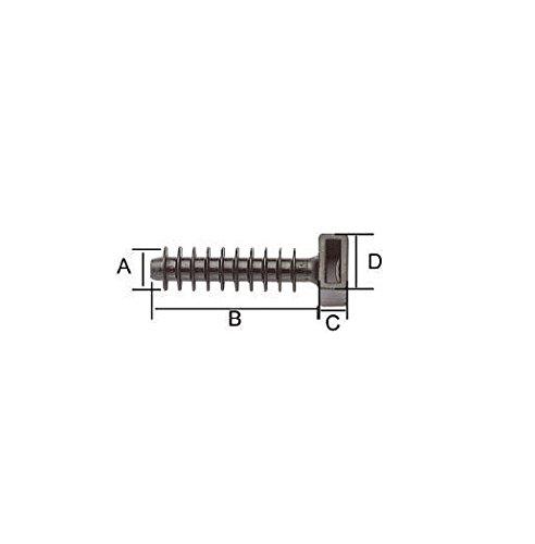 Preisvergleich Produktbild KPS 701200245Dübel-Druck in Polyamid 6.6, 8mm, 37mm x 9.2mm Abmessungen, 100Verpackung, Schwarz