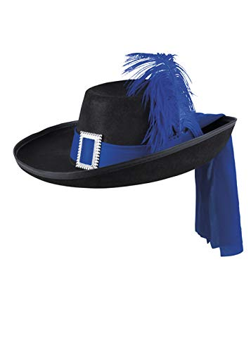 Magic Box Schwarzer Musketier-Hut in Erwachsenengröße mit Blauer Feder