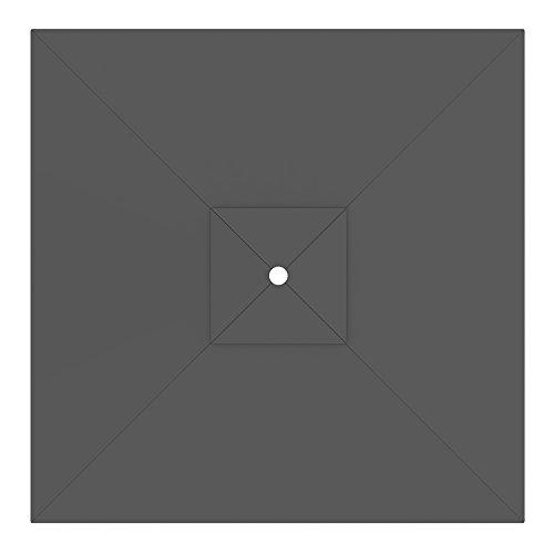 PARAMONDO Toile de rechange pour parasol avec Air Vent pour parasol Interpara (3 x 3m / carrée), gris