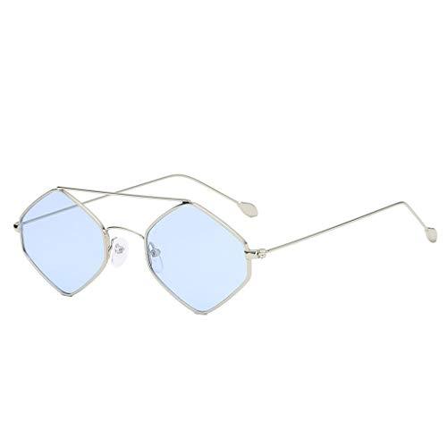 fazry Irregular Sonnenbrille Damen Fashion Cat Eye Shade Brille Integrierte Streifen Vintage Eyewear Gr. Einheitsgröße, blau