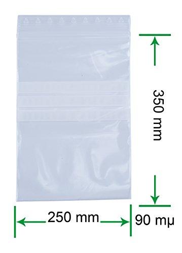 HeiZip ® 100 x Druckverschlußbeutel mit Beschriftungsstreifen 250 x 350 mm, 90 mµ / MY (extra stark)