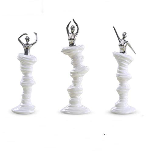 Yonsenner Gemälde zum Aufhängen, für Wohnzimmer, Schlafzimmer, Weinschrank, Dekoration, Figuren aus Keramik, handwerkliche Ornamente modern minimalistisch (Farbe: Weiß und Silber) White Plus Silver -