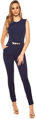 Elegante ärmellose Overalls in versch. Styles und Größen, ärmellos Jumpsuit Hosenanzug Business Büromode Abendmode Damen (K6721 FT Marine XS)