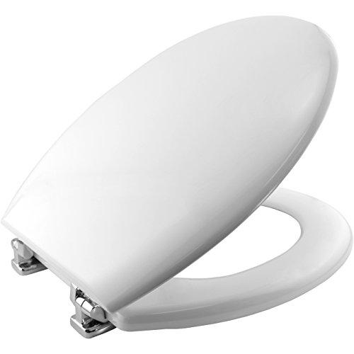 Bemis 4100CP000 NEW YORK Formholz WC-Sitz mit verchromten Scharnieren, Weiß - Wc-scharnier Bemis