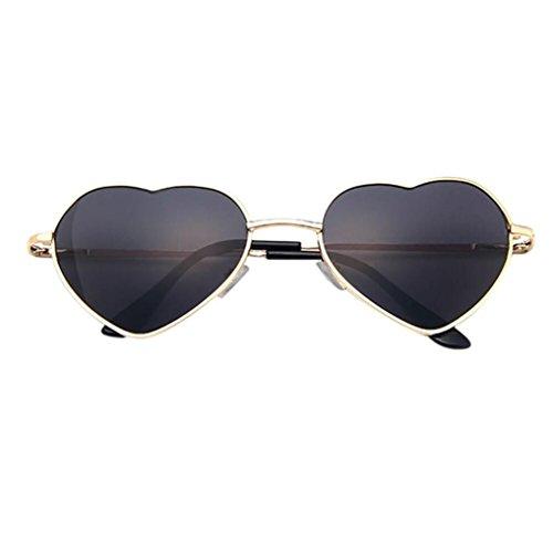 Holeider 2018 Neue Sonnenbrille Frauen Männer, Mens Womens Metallrahmen Damen Herz Form Sonnenbrille Lolita Liebe (E)