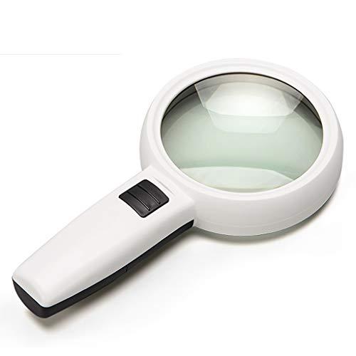 LYLLYL Handlesung mit LED-Licht 100mm Lupe 5-Fach Vergrößerungsspiegel Lupe