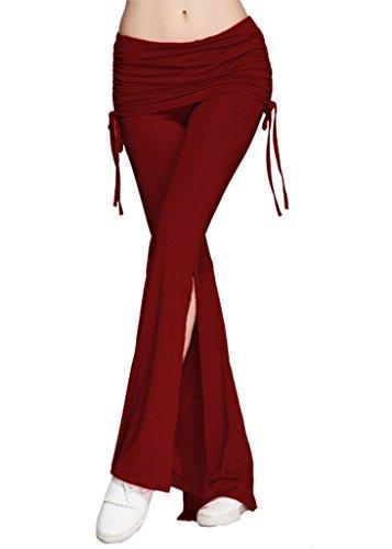 42d7283ea8b6 Bigood Vogue Longue Pantalon Plissé Couleur Uni Pour Yoga Sport Course  Bordeaux