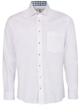 Almsach Trachtenhemd Heinz Regular Fit Mehrfarbig in Weiß und Dunkelgrün Inklusive Volksfestfinder
