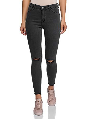 oodji Ultra Damen Skinny Jeans mit Rissen an den Knien, Grau, 30W / 30L (DE42 = EU44 = XL)