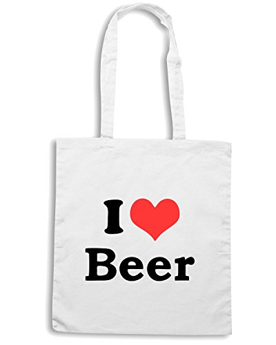 T-Shirtshock - Borsa Shopping TR0062 I Love Beer 25mm 1 Pin Badge Button Hen Night Stag Do Party Fun Novelty Bianco