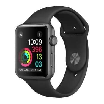 Apple Watch Series 1 Montre connectée, boîtier en aluminium 42mm gris, avec bracelet sport noir