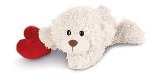 NICI Love Kuscheltier Bär weiß mit Herz liegend, 30 cm Classic 2018-2019 Peluche, Color Blanco, ca (42615)