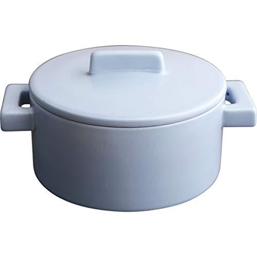 Instant Noodle Bowl mit Deckel Keramikschale Instant Noodle Bowl japanische Student Bowl Salatschüssel Suppenschüssel Haushalt Essen Schüssel (Color : BLUE, Size : 19.7 * 10.5CM) -