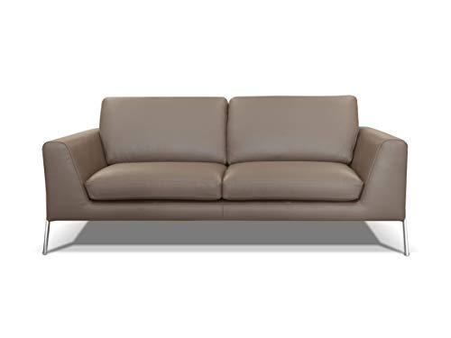 Alkove - canapé moderne en cuir Kutina, 3places, TAUPE