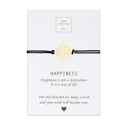 LUUK LIFESTYLE Filigranes Textil Armband mit Lebensbaum Anhänger und Happiness Spruchkarte, Glücksbringer, Frauen Armband, schwarz, Gold