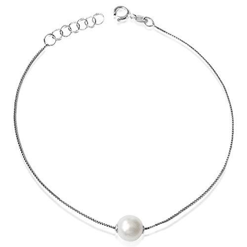 Bracciale Donna Oro e Diamanti, perla 6.0mm-Oro Bianco 9kt 375-Catena a maglia 17cm Clicca su MILLE AMORI blu e scopri tutte le nostre collezioni
